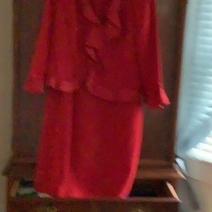 2 piece dress with matching jacket red